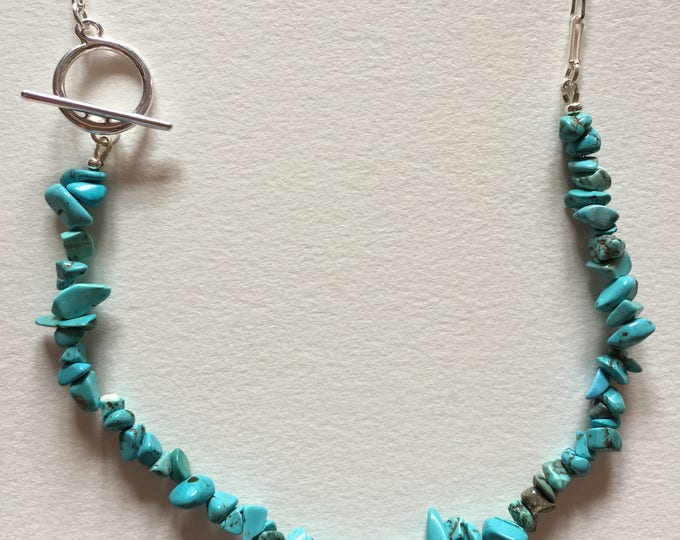 Turquoise necklace, Silver brass chain necklace and turquoise stone