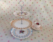 Very pretty blue, pink and gold 3 tier cake stand, handmade, plates dating from the 1930's.