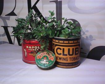 Vintage Advertising Tins,  Vintage Napoleon Chewing Tobacco Tin, Club Chewing Tobacco Tin, Fluxite Soldering Tin,   FREE SHIPPING