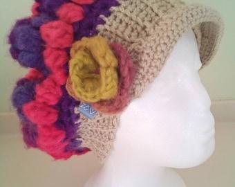 Womens Crochet hat, Newsboy hat, Multi coloured hat, Brimmed hat