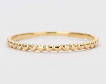 In Stock! Mini Hearts Solid 14K Gold Ring Heart Dainty Thin Wedding Band Eternity Stacking Rings Unique Engagement Christmas Gift AD1124