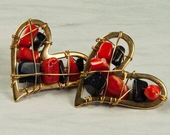 Heart Shaped Earrings, Gold Fill Earrings, 14K, Red Corals, Onyx Stone, July Birthstone. March Birthstone.
