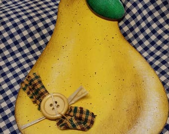 Wooden country pear ornament