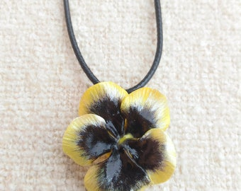 Pendant with yellow pansy, pansy necklace, violet, cold porcelain, pansy pendant, spring