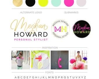 Feminine Branding Package, Hot Pink Gold Logo, Makeup Artist Event Planner Photography Logo, Fuchsia Logo Branding Kit Fashion Boutique Logo