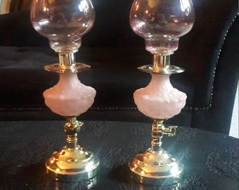 Pink Glass frosted Hurricane sconce pair or upright candle holders SALE