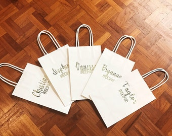Personalized Gift Bags   Name + Title   Bridesmaids Gifts   Bridal Party Bags   Custom Gift Bags   Wedding Favors   Kraft Bags   8.5 x 5.25