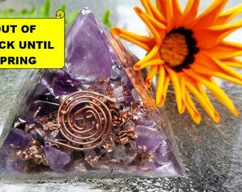 Powerful Positivity Crystal Pyramid-Chembuster, Amethyst, Clear Quartz, Gemstones, Transmute Negativity, Protection, Chakra