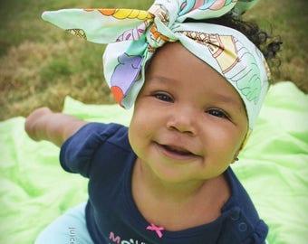 Ice Cream Headwrap- Headwrap; Ice Cream Headband; Ice Cream Bow; Toddler Headband; Toddler Headwrap; Baby Head Wrap; Baby Headband; Turban