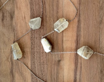 Rutilated Quartz Beaded Necklace with Silver Hollowform Bead
