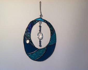 Shades of Blue and Green Oval Suncatcher with Crystal