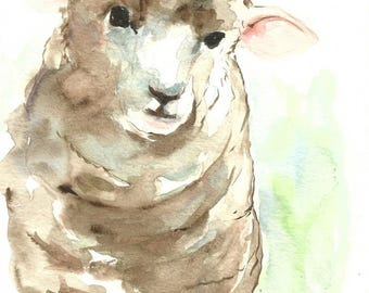 ORIGINAL Sheep Lamb Watercolor Painting Farm Nursery Illustration Animal Art Hand Painted Small Wall Decor 6x8