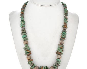 Navajo Turquoise Silver Bead Necklace Battle Mountain Nevada Stones