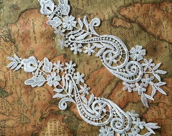 1 Pair Lace Applique Solubility Trim Appliques in Off-White for Dress,DIY,Headpieces, WL884