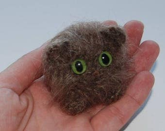 fluffy kitten/brown cat/ Amigurumi kitten/crochet cat/cat with big green eyes/ miniature cat/cute cat/tiny cat/toy funny animal