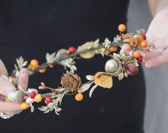 Flower crown, bridal flower crown, pinecone crown, gold flower crown, autumn flower crown, pinecone headband