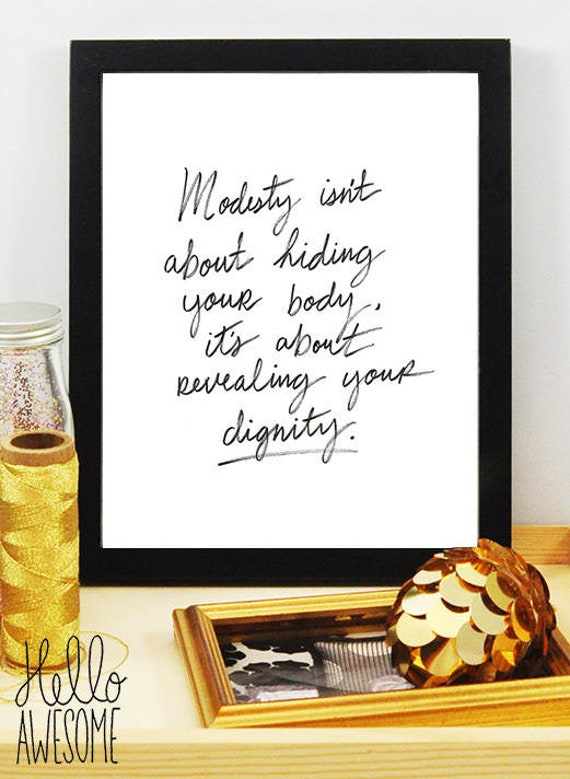 Modesty Dignity Hand Lettering Quote 5x7 Print