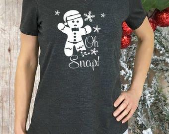 Oh Snap, funny Christmas shirt, gingerbread shirt, Christmas shirt, women Christmas shirt, gingerbread man, women holiday shirt