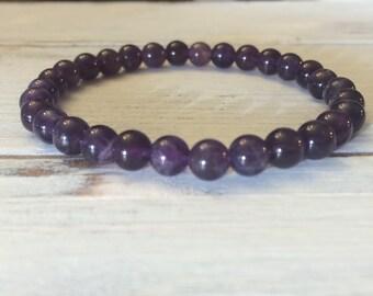 6mm Amethyst Bracelet, Small Bead Stacking Bracelet, February Birthstone, Wrist Mala For Overcoming Fear, Addiction, Heightens Spirituality