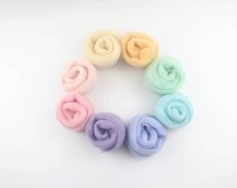 Pastel Wool Needle Felting Kit - 8 colors /Needle Felting Pack/Needle Felting Wool Kits/Pastel Needle Felting Wool/Candy Colors Wool Batting