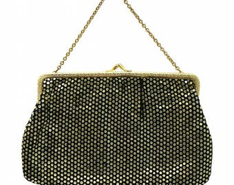 1950s Black and Gold Spot Vintage Evening Bag