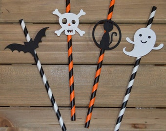 Halloween Paper Straws! Halloween Party Decoration! Happy Halloween Party Paper Straws! Halloween Paper Straws! Halloween Party Favors!