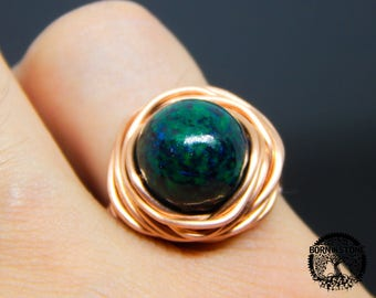 Wire wrapped ring Chrysocolla ring Copper ring Steampunk ring Wire wrap ring Mens ring Womens ring Magic ring Best gift For her For him