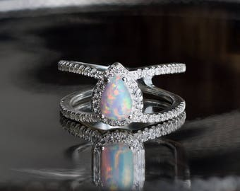 Teardrop Opal Halo Ring, Double Band, Synthethic Opal with Micro Pave CZ, October Birthstone Ring, Modern Elegant Style, Prong Set Opal