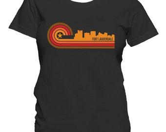 Retro Style Fort Lauderdale Florida Skyline Women's T-Shirt