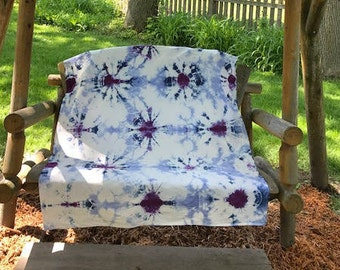 Light Blue, Dark Blue and Purple Web Hand Dyed Fabric, Tie Dye Cotton Fabric, Shibori Fabric