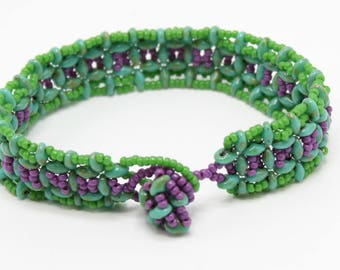 Turquoise Green & Purple Bracelet Beaded Bracelet