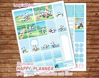 Panda Printable Planner Stickers / Mambi Happy Planner Stickers / Weekly Planner Sticker Kit / Silhouette Cutfiles / Download