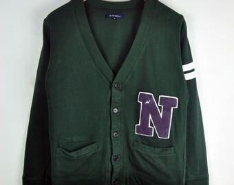 R.Newbold Cardigan Button Down Medium Size Sleeve Stripes Pockets Waist