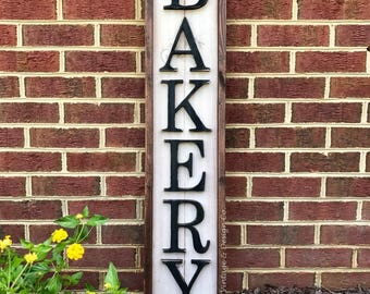 """Handcrafted Wood Sign """"BAKERY"""" Handcut Letters Rustic Kitchen Farmhouse Bake Shop Wall Decor"""