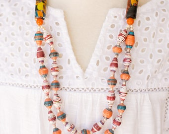 Handmade multi strand necklace,orange tribal necklace,ethnic jewelry,colorful necklace,valentines gift for her,upcycled jewelry,best gift