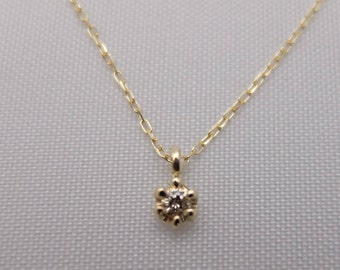 10K Yellow and Rose Gold Petite Solitaire Pendant
