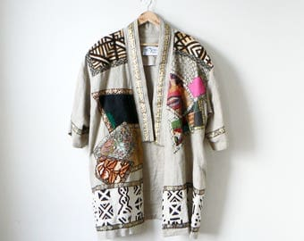 90s Safari Embroidered Animal Print Cardigan - 90s African Sweater Cardigan Textured Sweater- Drape Kimono Robe 90s Clothing - Women's L