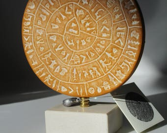"Minoan Phaistos Disc Handmade Greek Art Museum Replica 5.1"" 13x10cm"