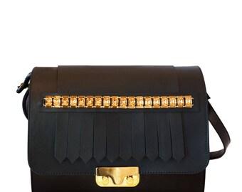 Royal black leather Minibag jewel bag-leather shoulder bag with crystal jewelry-black leather jewel Bag
