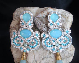 soutache earrings sky opal, soutache, soutache jewelry, handmade earrings, soutache jewels, soutache embroidery, artigianal jewels