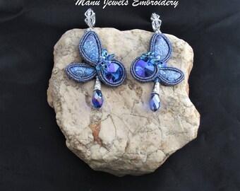 soutache earrings butterfly, soutache, soutache jewelry, handmade earrings, soutache jewels, long earrings, soutache embroidery