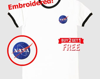 Nasa Embroidered Ringer T-Shirt by 24PlanetsStudio NASA Shirt NASA Tee