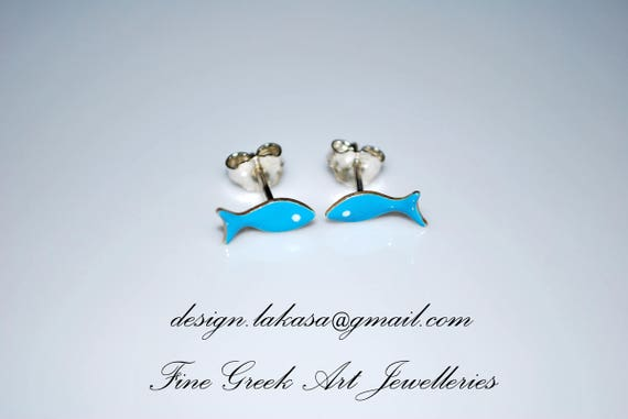 Enamel Fish Stud Earrings Sterling Silver Handmade Jewelry cute girl Kids Collection Baby Moda Woman Girlfriend Summer Greek Baptism Gifts