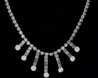 Vintage 50s Rhinestone Sunburst Necklace - MCM - Minimalist Glam - VLV