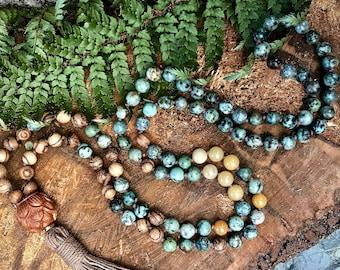 African turquoise mala necklace / Mala beads 108/ 108 Mala beads / Boho mala necklace  / Boho mala beads / 108 Mala necklace / 108 mala