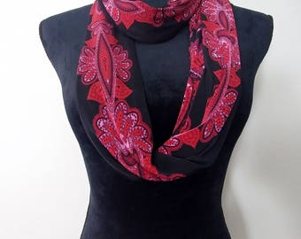 Wine abstract/paisley print silky infinity scarf, circle scarf
