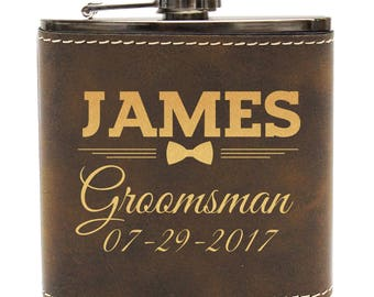 Groomsmen Flask Gifts - Personalized Leather Flask - Groomsmen Gift - Personalized Flask - Engraved Flask - Hip Flask - Custom Flask