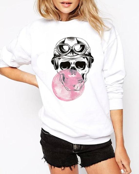 Sugar Skull with bubble gum balloon | Unisex Heavy Blend Crewneck Sweatshirt | Calaveras | Day of the dead | Aviator | ZuskaArt