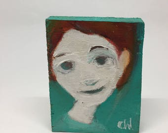 Small painting on wood, decorative gift - round face on green background