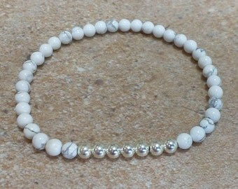 White Howlite and sterling silver seamless bead stretch stacking bracelet